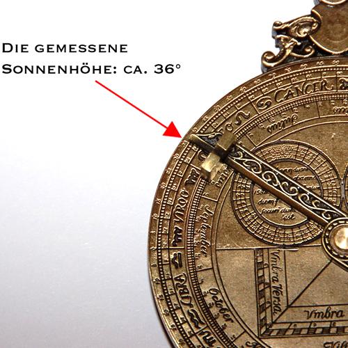 Astrolabium - Funktion als Uhr