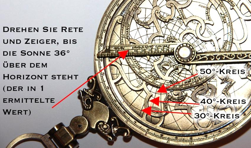 Astrolabium Funktion als Uhr