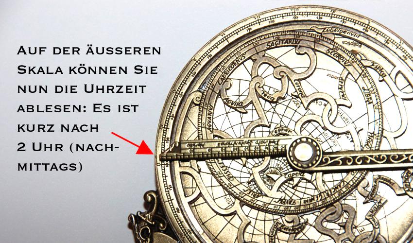 Astrolabium - Uhrzeit ablesen