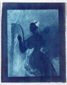 Solar Fotopapier, Cyanotypie, Sir John F. W. Herschel: Lady with a harp, 1842